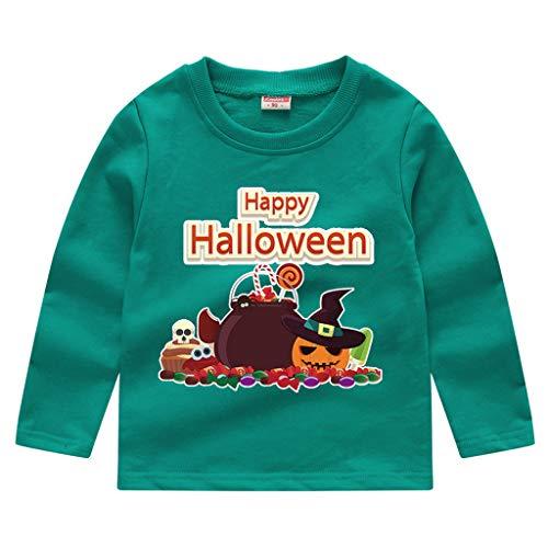 Romantic Kinder Baby Jungen Halloween Kostüme Lange Ärmel Bat/Kürbis/Brief Gedruckt T-Shirt Schickes Kürbis Kostüm Top Sweatshirts für Karneval Party Halloween Fest (Lange Haare Jungs Kostüm)