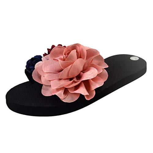 LILIGOD Frauen Sommer Hausschuhe Seaside Vacation Schuhe rutschfeste Flat-Bottom Beach Sandal Tragen Hausschuhe Blume Weich Bequem Slipper Runde Spitze Open Toe Schuhe -
