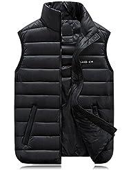 GXS Edredón, chaleco de algodón para el otoño/invierno. Más capas de tamaño. Cuello de los hombres de talla grande ropa de hombre. Chaleco acolchado , black , xxxxl