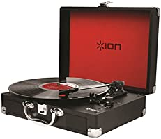 ION Audio Vinyl Motion | Portable Briefcase Style Turntable with Built-in Stereo Speakers, Rechargeable Battery and USB Conversion - Black
