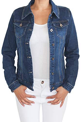 Sotala Damen Jeansjacke Damenjacke Kurze Denim Stretch Jeans Jacke Übergangsjacke Blau New-Jeans XXL/44 -
