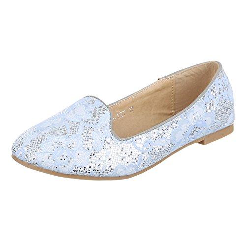 Damen Schuhe, A-127, HALBSCHUHE, SLIPPER BALLERINAS, Synthetik , Hellblau, Gr 39 (Damen-schuhe Ebay)