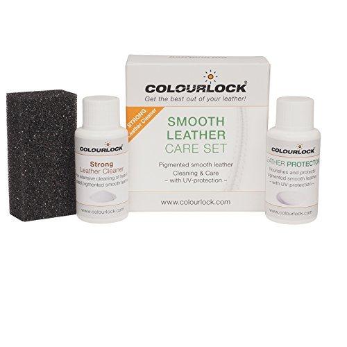 Colourlock - kit per la pulizia e la cura della pelle, per uso su parti interne di auto, mobili in pelle, divani, sofà, giacche, borse e altri articoli in pelle, protegge dall'usura