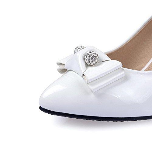 VogueZone009 Femme Tire Microfibre Pointu Stylet Couleur Unie Chaussures Légeres Blanc