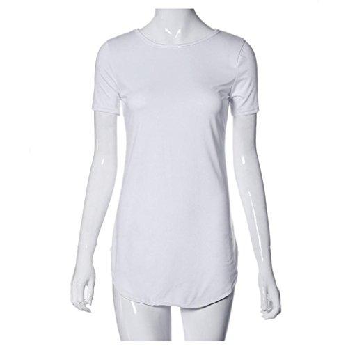 Bluestercool Frauen Short Sleeve Seite schlitzte lässiges T-Shirt Partei-Minikleid Weiß