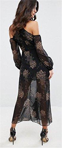 Manches Longues Licou Épaules Dénudées Épaule Dénudée Florale à Fleurs Mousseline Une Ligne A-Ligne Patineuse Patineur Long Longue Maxi Dress Robe Noir Noir