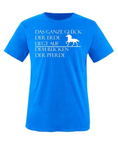 Comedy Shirts - Das ganze Glueck der Erde liegt auf dem Ruecken der Pferde - Jungen T-Shirt - Royalblau/Weiss Gr. 98-104