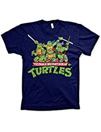 Officially Licensed Merchandise TMNT - Distressed Group T-Shirt (Navy)