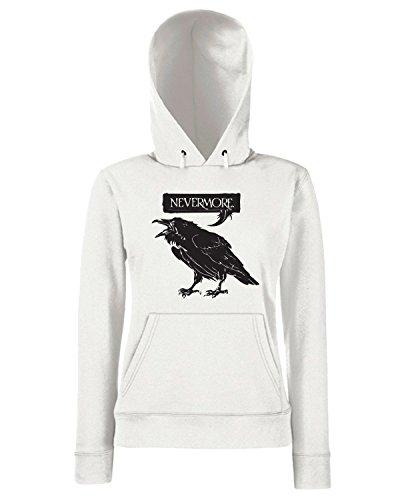 T-Shirtshock - Sweats a capuche Femme FUN0027 02 08 2014 Nevermore Raven flashback T SHIRT det Blanc