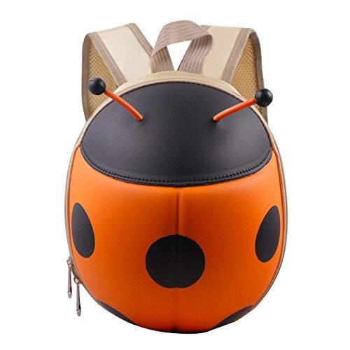 NORSENS Kindergartenrucksack Kindergartentasche für Jungen und Mädchen Schultasche Cartoon Marienkäfer Mini Baby Kleinkinderrucksäcke (Orange)