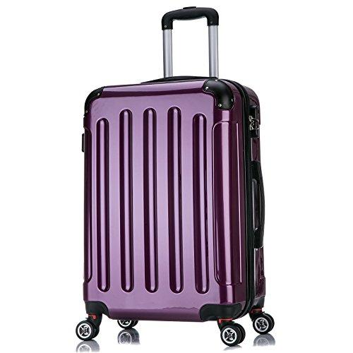 WOLTU RK4212bb-XL, Reise Koffer Trolley Hartschale ABS+PC Hochglanz Volumen erweiterbar, Reisekoffer Hartschalenkoffer 4 Rollen, M/L/XL/Set, leicht und günstig, Brombeere (XL, 75 cm & 110 Liter)