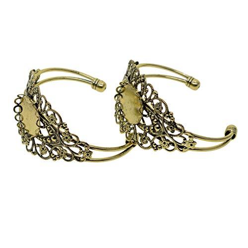 IPOTCH 2 Stück Filigrane Blume Einstellbar blank Basis Armbänder für DIY Armreif Armband Schmuck Herstellen - Bronze