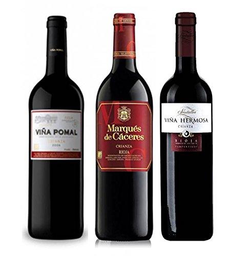 Pack Vino Rioja Clasicos Crianza 3 Botellas. 1 Viña Pomal Crianza, 1 Marqués De Cáceres Crianza, 1 Viña Hermosa Crianza