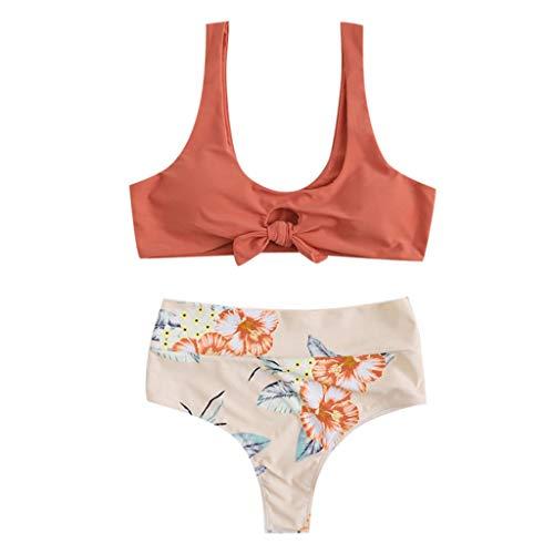 Porrous Damen Bikini Set Beige Orange, Weiß, Hellblau, Gelb, Marineblau S-XXXXL Größe L, Orange-2