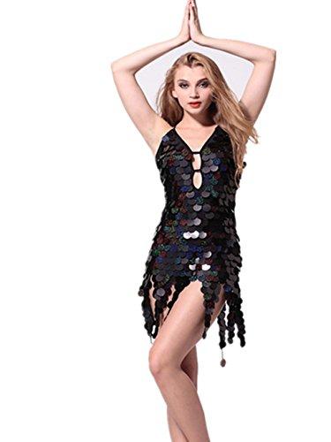 FaithYoo Damen Schößchen Kleid Large Schwarz