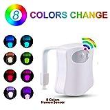Luz Baño con Sensor de Movimiento super sensible | con 8 cambios de color | Wc Luz con eficiencia energetica Led A | Adaptable a cualquier inodoro