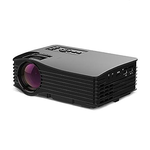 Mini projecteur multimédia (support USB / SD / HDMI / IR) consoles de jeux 1000 lumens projecteur LED haute définition portatif non compatible connexion sans fil , black
