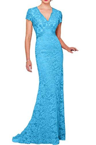 Promgirl House Damen Elegant Lang Aermellos festliches Kleid Satin Spitze Schleppe Abendkleider Cocktailkleider Ballkleider Lang Blau