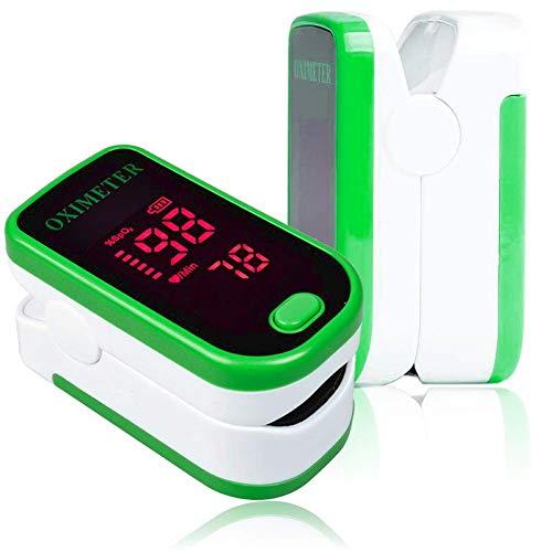 Finger Pulsoximeter, Blutsauerstoff SPO2 Sättigung, Pulsfrequenz Vitalzeichen Monitor, OLED Display, CE, FDA und TÜV zertifiziert, AAA Batterien inklusive (Weiß und Grau)