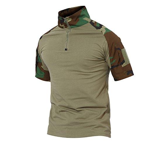 Magcomsen Tactical Airsoft Camo Combat T Shirt Kurzarm mit Rei?verschluss (Bdu Woodland Shirt Camo)