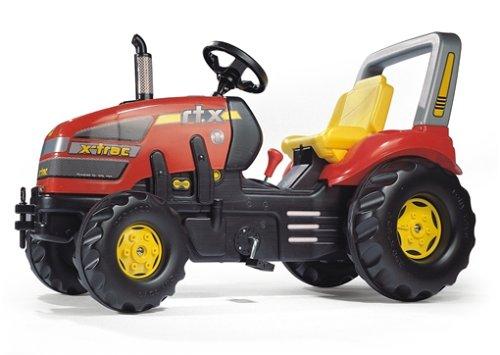 Trettrecker Rolly Toys 035564 x-Trac Traktor mit 2-Gangschaltung und Bremse | Trettraktor mit Überrollbügel, Sitzverstellung | Farbe rot/schwarz