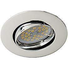 Wonderlamp Basic W-E000017 - Foco empotrable redondo cromo, incluye portalámparas GU10, diámetro de 8 x 1,5 cm