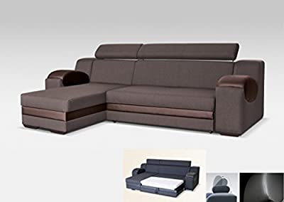 Universal Hand Corner Sofa Bed - Madrit - Brown Fabric & Faux Leather 260cm from Megan Furniture