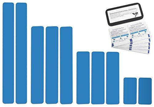 Selbstklebende Planenreparatur Tapes | 10 teilig | Easy Patch Comfort 50mm | Für Pools, Planen uvm. | Lichtblau RAL 5012