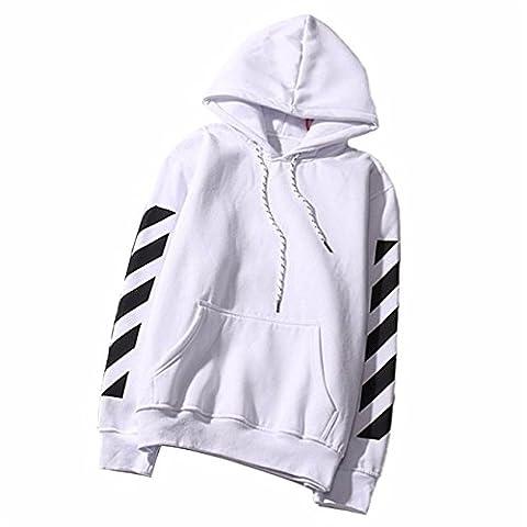 HCFKJ Femmes Lettres Applique Manches Longues Sweat Sweatshirt Pull Tops Blouse (L, Blanc)