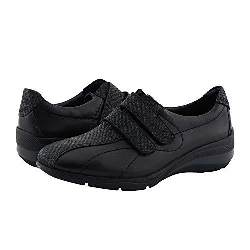 24 Horas Deportivas 24220 en Piel con Velcro para Mujer Talla: 38 Color: Negro