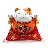 Bimbomshop Winkekatze Glückkatze Maneki Neko Spardose mit Glocken - Winkekatze aus Porzellan in Orange 11 cm