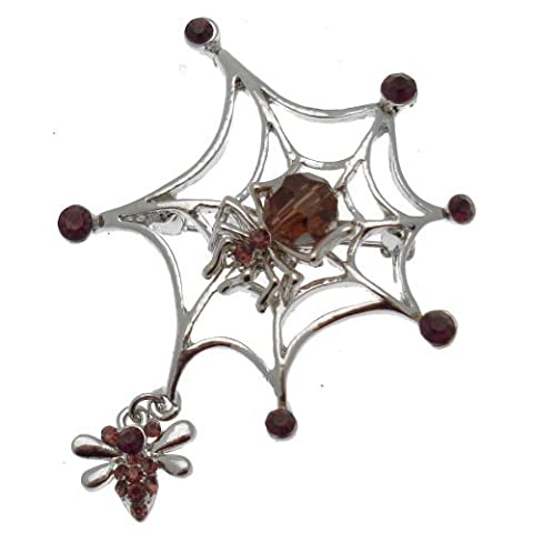 Acosta Brooches - Purple Crystal & Bead - Silver Tone Gothic Spider Web Brooch with Fly Charm - Gift Boxed by Acosta Jewellery
