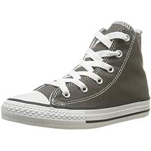 Converse Chuck Taylor All Star Core Hi - Botines de lona infantiles, color gris, talla 21
