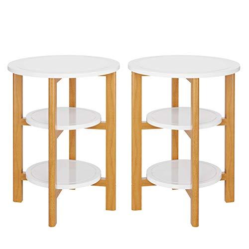 HOMECHO 2er Set Beistelltisch in weiß aus Massivholz Runder Couchtisch Holztisch mit 3 Ebenen für Wohnzimmer Schlafzimmer Balkon 46 * 46 * 62cm