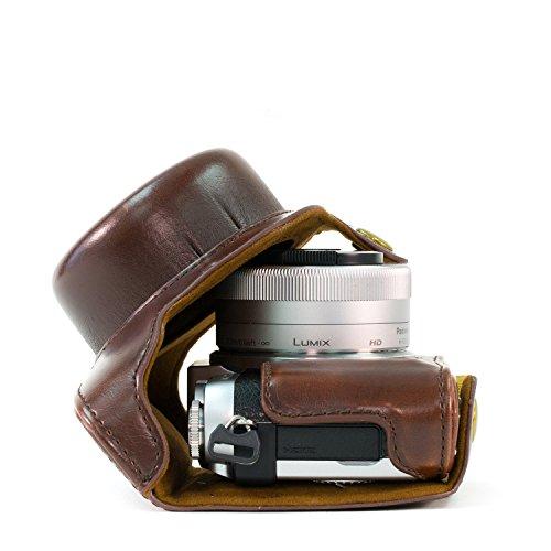 """MegaGear """"Ever Ready"""" Funda protectora de cuero de la cámara, bolso para Panasonic Lumix DMC-GX850, GX800, DMC-GF9, DMC-GF8, DMC-GF7 con 12-32mm Lente (Marron oscuro)"""