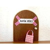 La auténtica puerta rosa mágica del Ratoncito Pérez. Con una preciosa bolsita de tela para dejar el diente. Ratón Pérez.