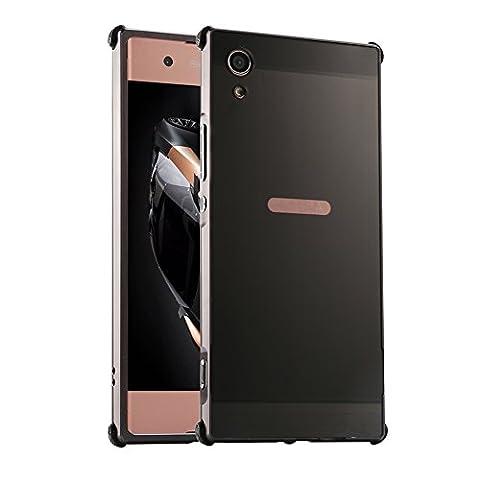 """Coque Xperia XA1, Etui en premium Aluminium métal miroir, Btduck Luxe Housse 2 en 1(Luxe Stucture en métal Bumper + PC Plastique Arrière Etui)[Étui en Métal Miroir] Anti Choc de Protection Semi-Transparente Coque 2 in 1 Electro Placage Texture Hard Coque Pour Sony Xperia XA1(5.0"""") + 1X Noir Stylet Touchscreen Pen- Noir"""