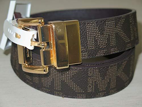 Michael Kors Gürtel braun Größe S, 95 cm lang, 3 cm breit *Reversible* Wendegürtel MK Logo eingeprägt, Damen, kleine goldene Schnalle