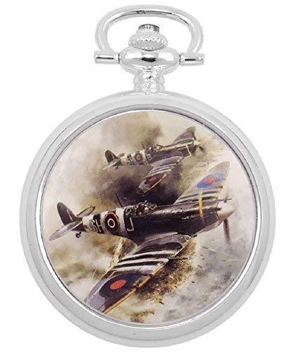 Atlas Taschenuhr Analog Versilbert 42 mm Sprungdeckel D Day Spitfires Retro