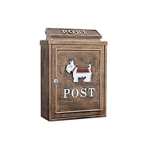 Preisvergleich Produktbild XIAOPING Regenwasser-Briefkastenwand des europäischen Briefkastens im Freien mit Schlossbriefkasten großem ländlichem kreativem Briefkasten 28.4x12.5x41cm (Farbe : Bronze)