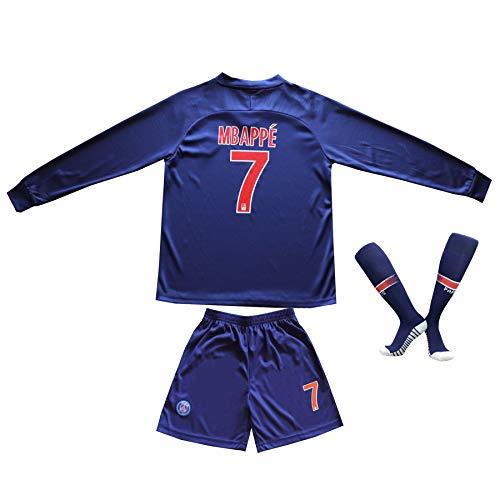 2018/2019 Paris #7 Kyle Mbappe Heim Lange Ärmel Kinder Fußball Trikot Hose und Socken Kindergrößen (26 (8-10 Jahre))
