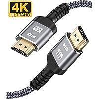 4K HDMI Kabel 2Meter, Snowkids Highspeed HDMI 2.0 Kabel 4K@60Hz 18Gbps Nylon Geflecht Vergoldete Anschlüsse mit Ethernet/Audio Rückkanal, Kompatibel mit Video 4K UHD 2160p, HD 1080p, X-Box PS4-Grau