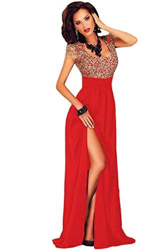 Damen Erstaunlich Gold Spitze Overlay Slit Maxi Cocktail Abendkleid mit Zip Rot