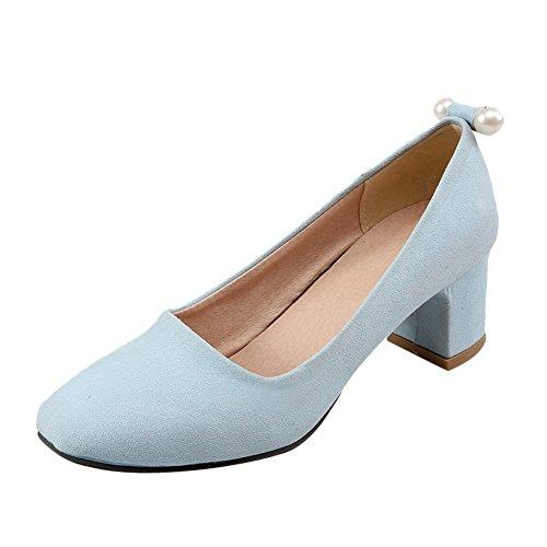 Mee Shoes Damen populär süß vierkant Perle-Dekoration Geschlossen Nubukleder chunky heel Pumps (38, Hellblau)