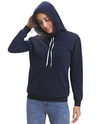 Sweat Capuche Femme Epais Coton Pull Femme Capuche Sweat-Shirt Femme Sport Tee Shirt Décontractée Sweat Femme Sportwear Manches Longues avec Poches Tops Femme, Bleu Marine, S