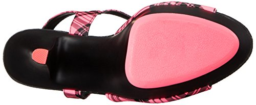 Pleaser KISS-209PL Neon H. Pink Plaid Faux Le/Blk Matte