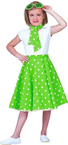 Tellerrock mit Halstuch Kleine Punkte Grün Weiß für Kinder Gr. 152 - Wunderschöner Rockability Rock im Stil der 50er Jahre Mottoparty oder Sommeroutfit (50er Im Stil Jahre Der Röcke)