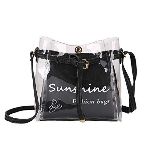 XZDCDJ Crossbody Tasche Damen Handtasche UmhängeTaschen Frauen Sommer Kleine Tasche Transparent Jelly Bag Wild Einfache Umhängetasche Set 2tlg Schwarz -