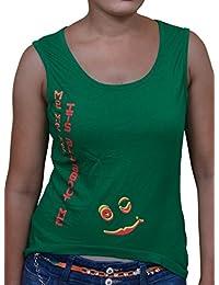 FICUSTER Women's/Girl's Sleeveless Green Top