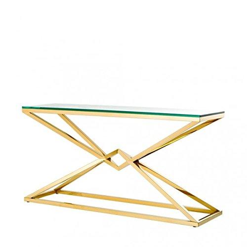 Casa Padrino Luxus Konsole Edelstahl Gold Finish 150 x 40 x H 74 cm - Konsolen Tisch Möbel